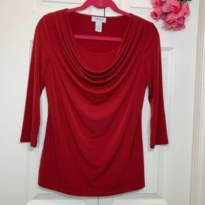 Carmen Marc Valvo Drapey Neckline 3/4 Red Top S